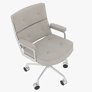 Eames Executive Chair Chrome Frame Snowy Fabric 3D