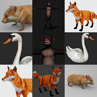 Animal collection rigged low poly