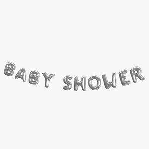 3D model Foil Baloon Words Baby Shower Silver