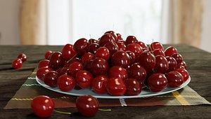 3D Cherry on a plate 3D