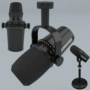 3D Shure MV7 Podcast Microphone Black model