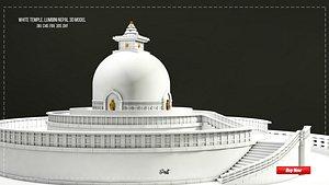3D white temple lumbini model