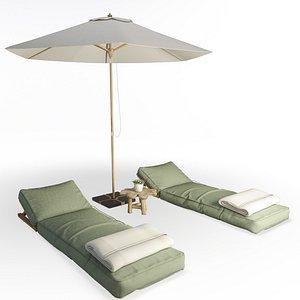 Wooden Headrest Sunbeds Set AtelierS 3D model