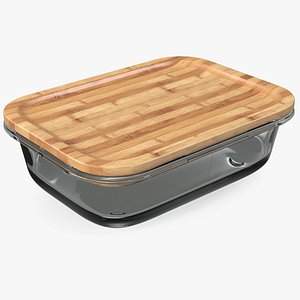 Rectangular Glass Food Storage Container with Bamboo Lid 1000ml 3D model