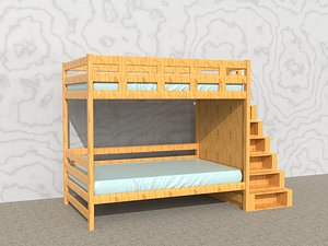 3D Children  bed High and low bed Canopy bed Student dormitory bed Bunk bed Multifunctional bed Wooden