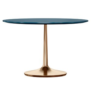3D Nero 48 Blue Lacquer Dining Table with Brass Base