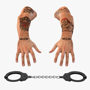 3D Man Hands with Handcuffs Collection