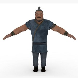 Chinese Man Villager Rigged 3D model