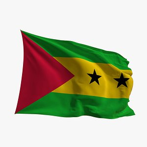 3D Realistic Animated Flag - Microtexture Rigged - Put your own texture - Def Sao Tome and Principe