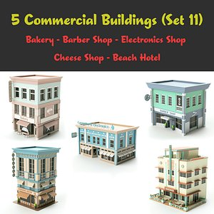 3D set 11 shop hotel