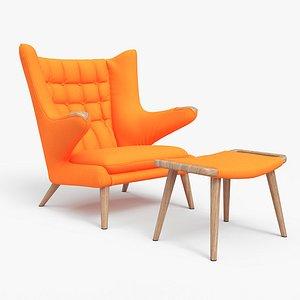 Papa Bear Chair And Ottoman Orange model