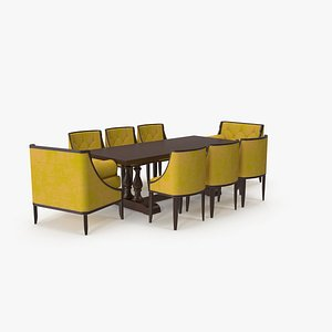 3D Dining Table Set for 8 Persons model