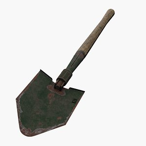 US M43 Entrenching Tool - High And Low Poly 3D model