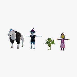 Cartoon characters 3D model