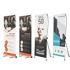 3D Advertising Banner Stands model