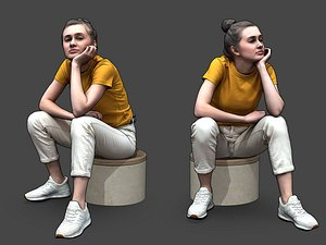 Stylized Woman Character Sitting 3D
