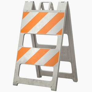 3D roadworks barricade