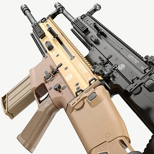 FN SCAR-H FDE Black Noir Game Ready 3D model