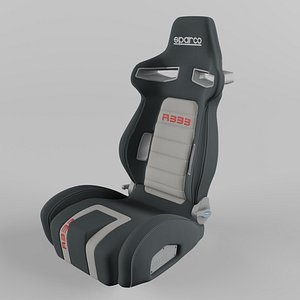 3D Sparco R333 Sports Racing Seat Suede Grey-Red