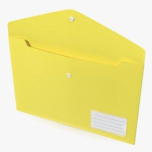 3D model Plastic Document Folder Open Yellow