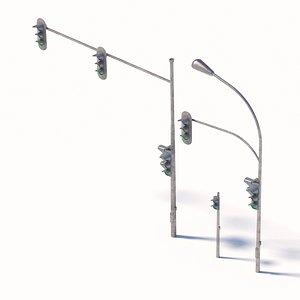 3D model 3D model of traffic light and street lamp set