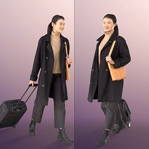 3D woman young travel model