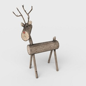christmas wooden deer 3D model