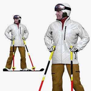 3D 001200 skiman in white jacket khaki pants