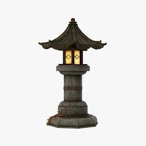 fantasy asian garden lamp light 3D model