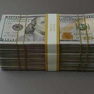 3D stack of dollars model