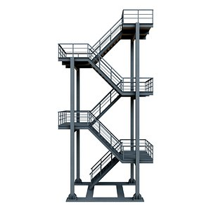 3D industrial escape stair