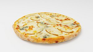 3D Pizza with pears and Italian Gorgonzola cheese