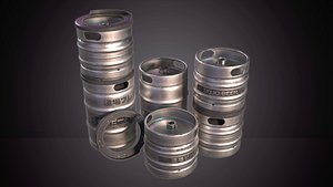 Beer Keg with Stackers - PBR Game Ready - Low Poly 3D Model model