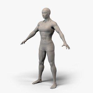 Female Basemesh Muscular 3D model