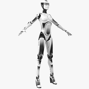 3D Female Cyborg Robot Police Officer model