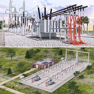 realistic substation 3D model