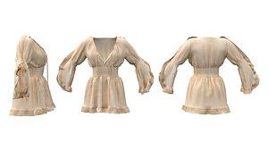 Trumpet Sleeve Flouncing Tunic Dress 3D model