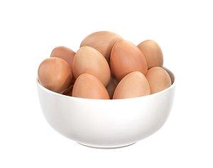 3D white bowl eggs model