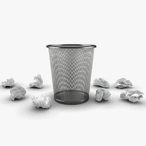 3D trash bin crumpled paper model