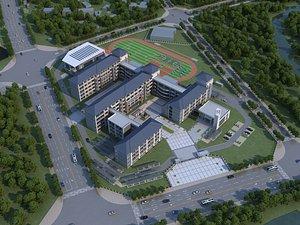 3D School modern school high school football field track field bird eye view Chinese school whole sch