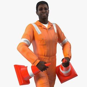 3D african american road worker model
