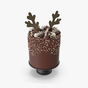 3D Christmas Cake with Reindeer Antlers Topper model