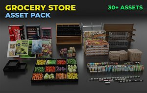 3D Grocery Store Asset Pack- Game Ready Low-poly 3D model model