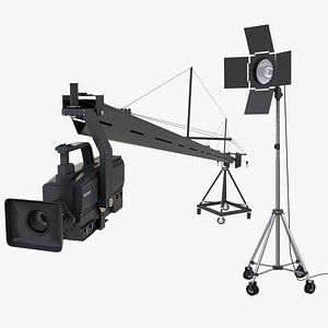 3D model Camera Crane and Studio Light