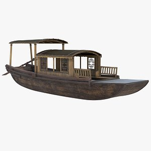 3D Old Traditional Chinese Wooden Passenger Boat