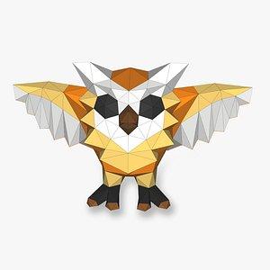 3D OWL posing open wings 3D Papercraf