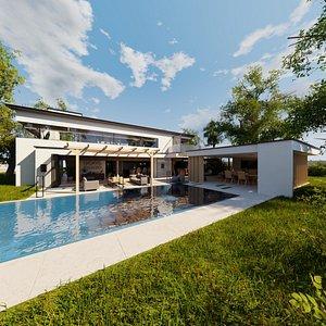 Modern villa 2021 Blender Eevee and Cycles 1 3D model