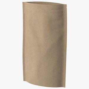 3D model zipper kraft paper bag