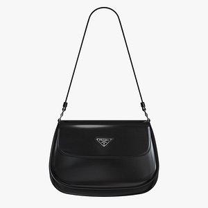 Prada Cleo brushed leather shoulder bag with flap Black 3D model