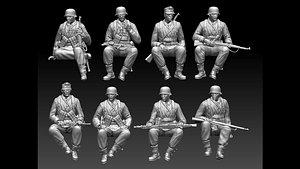 3D German soldiers ww2